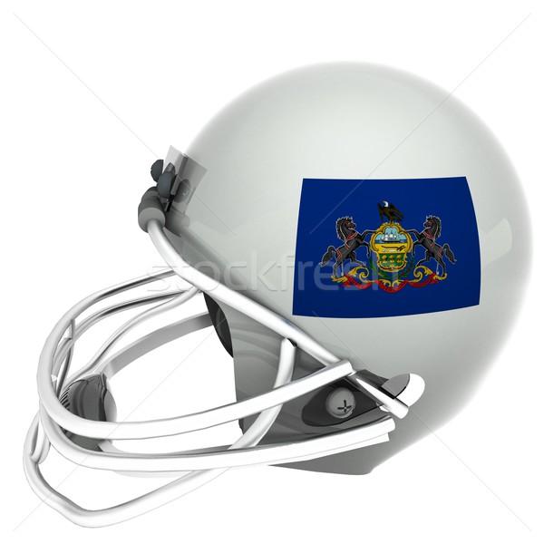 Stockfoto: Pennsylvania · voetbal · vlag · helm · 3d · render · vierkante