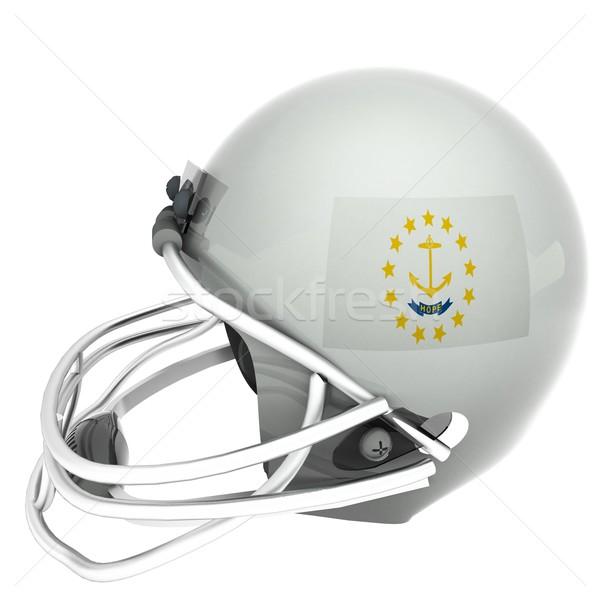 Rhode Island futebol bandeira capacete 3d render praça Foto stock © Koufax73