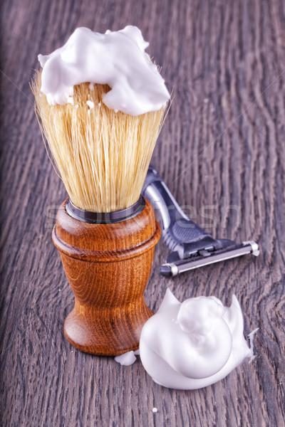 Köpük fırçalamak ustura geri su Stok fotoğraf © Koufax73