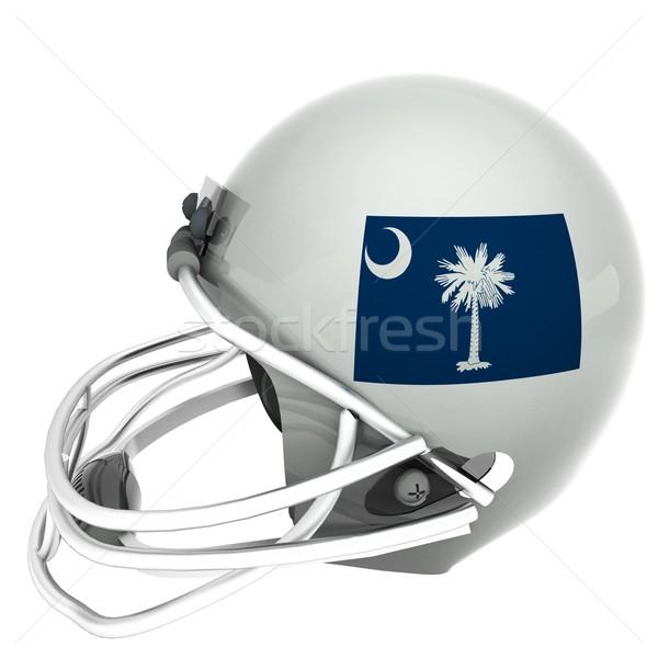 Stockfoto: South · Carolina · vlag · voetbal · helm · 3d · render · vierkante