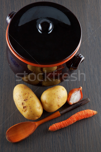 Stock photo: Vegetables and pot