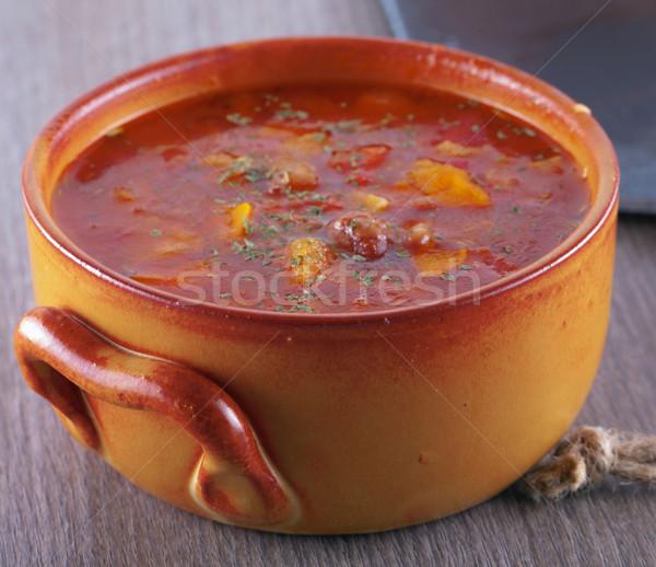 スープ 豆 トマト パン 緑 食べ ストックフォト © Koufax73