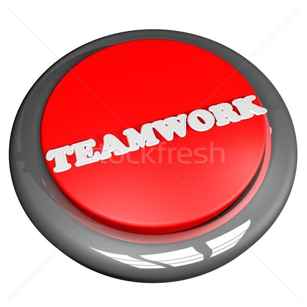 Trabalho em equipe botão isolado branco 3d render negócio Foto stock © Koufax73