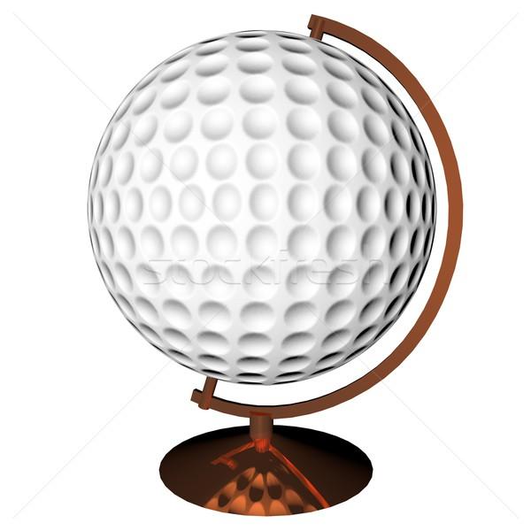 ゴルフ 世界中 孤立した 白 3dのレンダリング 広場 ストックフォト © Koufax73