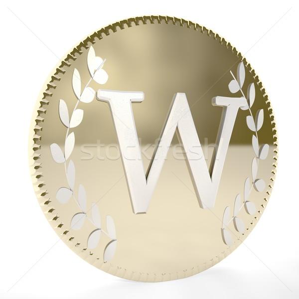 Monety złoty list laur pozostawia biały Zdjęcia stock © Koufax73