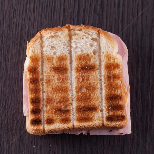 Tost jambon karanlık ahşap masa tablo ekmek Stok fotoğraf © Koufax73