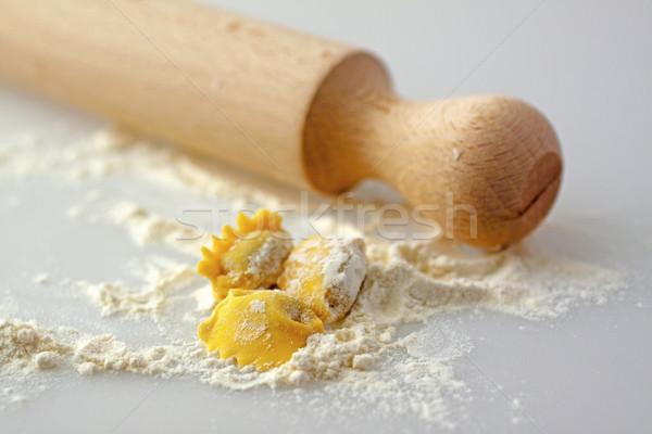 ラビオリ 麺棒 小麦粉 3  典型的な イタリア語 ストックフォト © Koufax73
