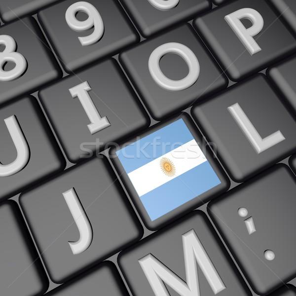 Zászló kulcs Argentína számítógép billentyűzet 3d render tér Stock fotó © Koufax73
