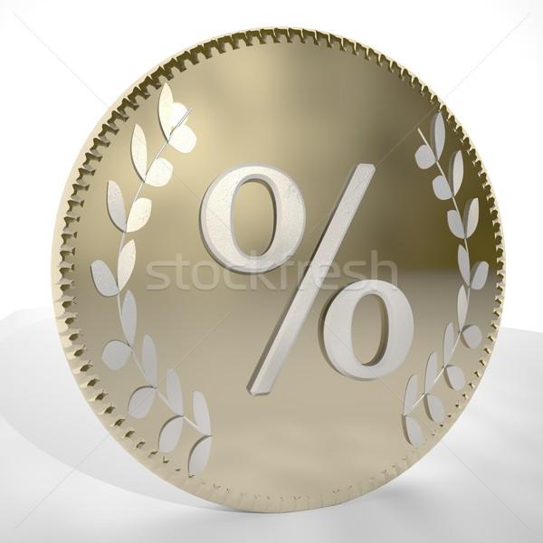 Percentage symbool gouden munt 3d render vierkante Stockfoto © Koufax73