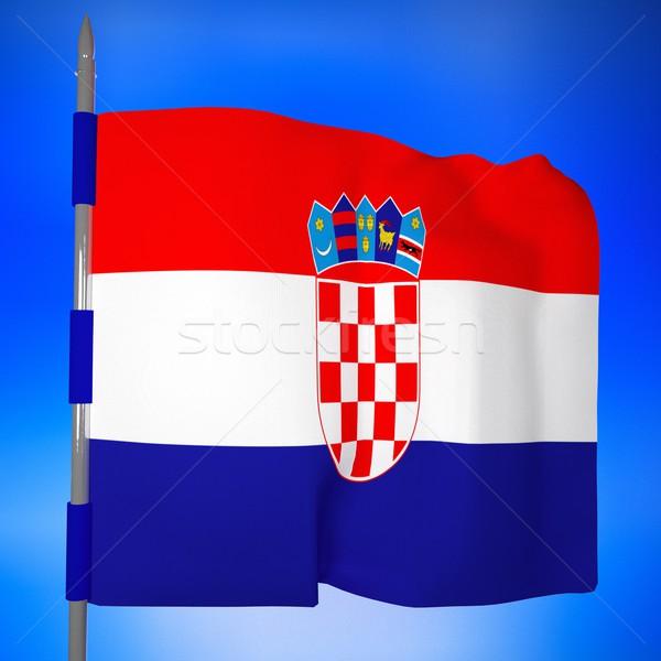 Bandera cielo azul 3d cuadrados imagen mundo Foto stock © Koufax73