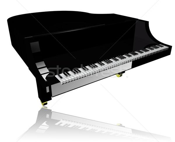 Kuyruklu piyano kapalı beyaz 3d render müzik klavye Stok fotoğraf © Koufax73