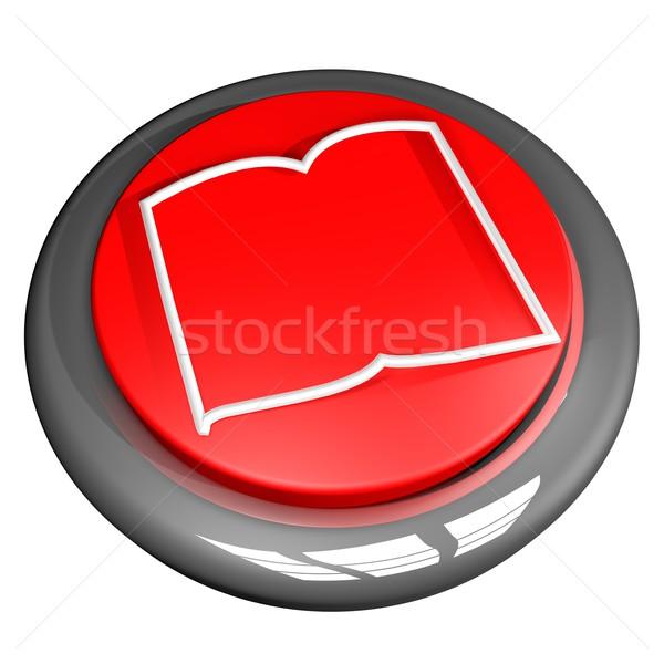 Kitap düğme simge yalıtılmış beyaz 3d render Stok fotoğraf © Koufax73