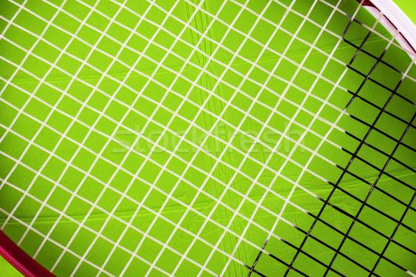 Teniszütő zöld műanyag mező közelkép vízszintes Stock fotó © Koufax73