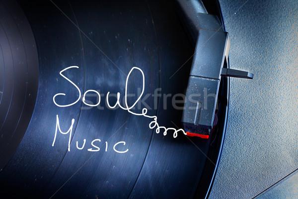 Draaitafel oude stoffig boven woorden ziel Stockfoto © Koufax73