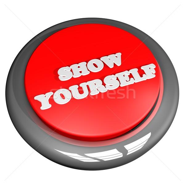 Előadás magad gomb izolált fehér 3d render Stock fotó © Koufax73
