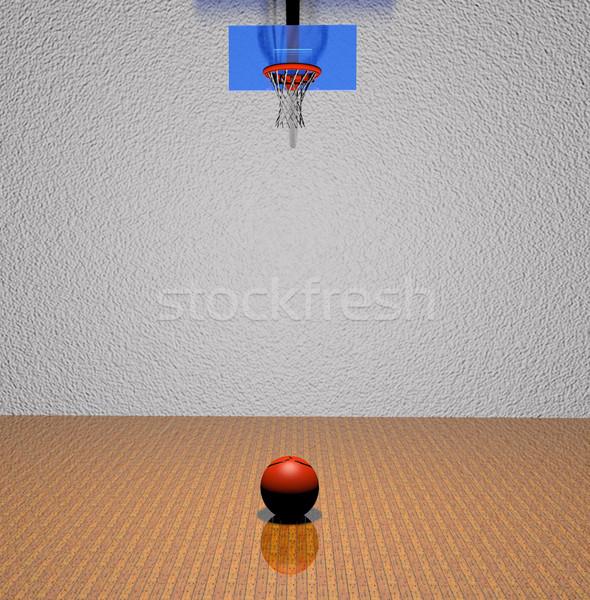 Stockfoto: Basketbalveld · bal · 3d · render · sport · basketbal · achtergrond