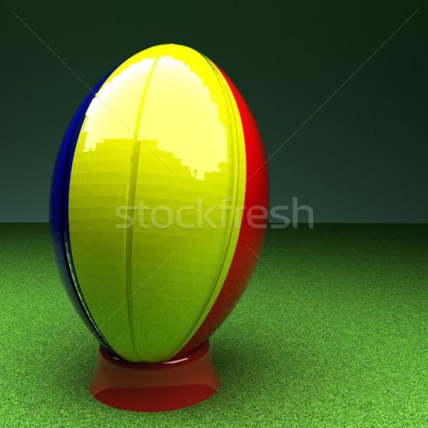 ルーマニア ラグビー ラグビーボール フラグ 緑の草 フィールド ストックフォト © Koufax73