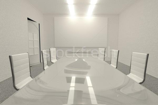 Stock fotó: Tárgyalóterem · iskolatábla · 3d · render · vízszintes · kép · iroda