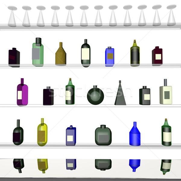Bar duvar tok şişeler 3d render cam Stok fotoğraf © Koufax73
