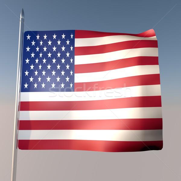 USA pavillon ciel bleu rendu 3d carré image Photo stock © Koufax73