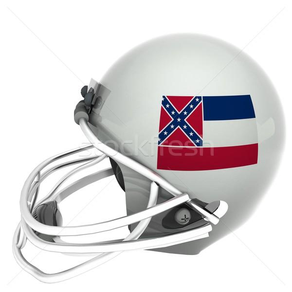 ミシシッピー州 サッカー フラグ ヘルメット 3dのレンダリング 広場 ストックフォト © Koufax73