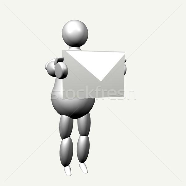 3D marionnette enveloppe blanche Photo stock © Koufax73