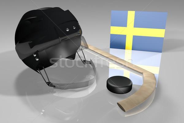 Zweden hockey vlag helm stick oppervlak Stockfoto © Koufax73