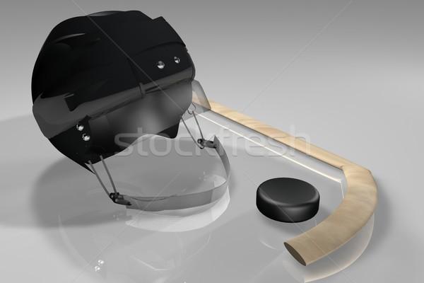 Hockey helmet, puck and stick Stock photo © Koufax73