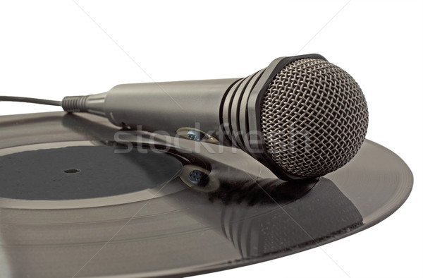 Mikrofon winylu czarny rekord muzyki Zdjęcia stock © Koufax73