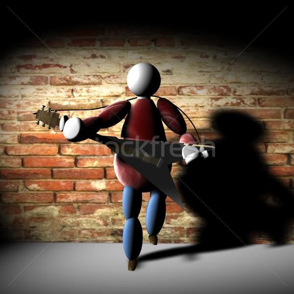 3D марионеточного играет гитаре кирпичная стена назад Сток-фото © Koufax73