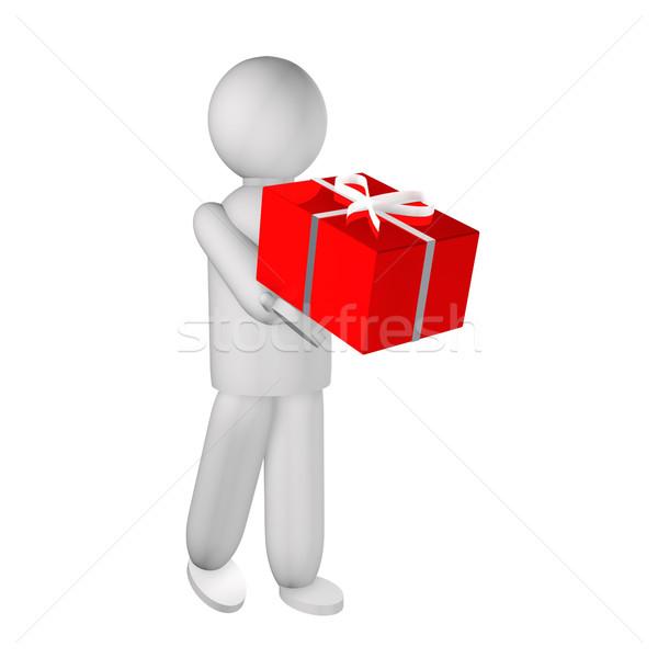 Marionnette cadeau blanche rendu 3d homme coeur Photo stock © Koufax73