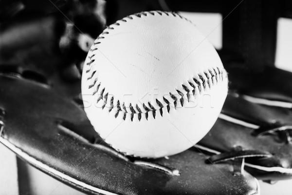 Beisebol preto e branco luva de beisebol horizontal imagem bola Foto stock © Koufax73