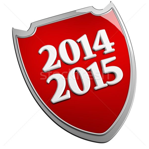2014 2015 scudo rosso isolato bianco Foto d'archivio © Koufax73