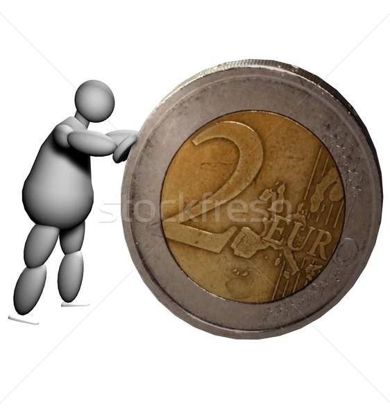 3D Marionette schieben zwei Euro Münze Stock foto © Koufax73