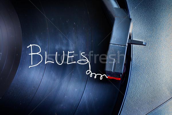 проигрыватель старые пыльный слово Blues Сток-фото © Koufax73