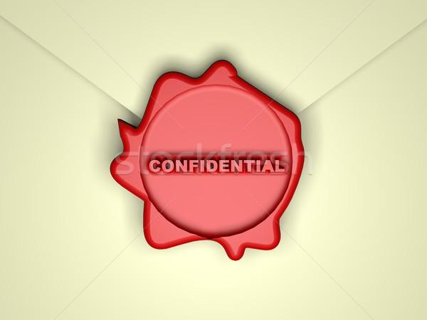 Confidenziale parola rosso cera timbro rendering 3d Foto d'archivio © Koufax73