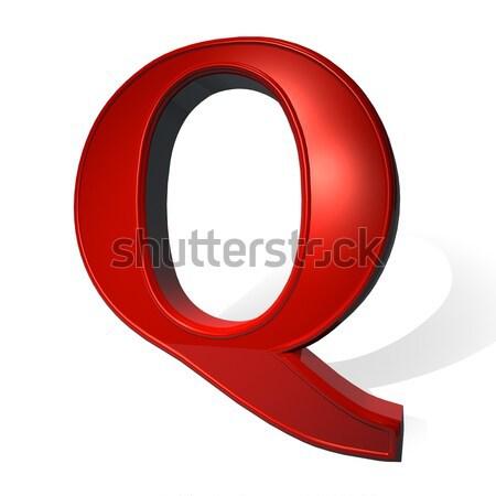 буква q красный белый тень 3d визуализации дизайна Сток-фото © Koufax73