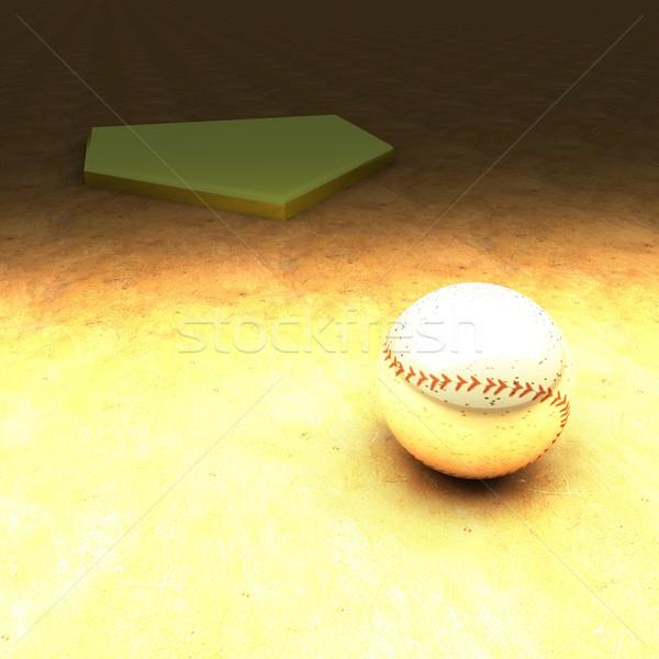 野球 粘土 フィールド 3dのレンダリング 広場 ストックフォト © Koufax73