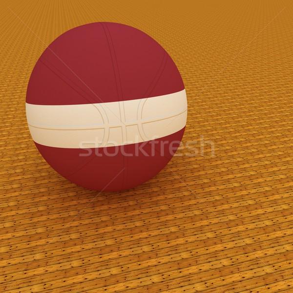 Lettország kosárlabda zászló 3d render tér kép Stock fotó © Koufax73