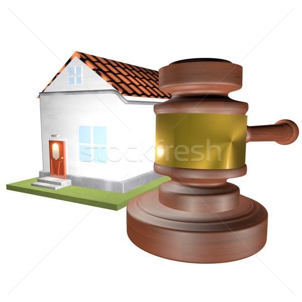 Ev açık artırma tokmak beyaz 3d render adalet Stok fotoğraf © Koufax73