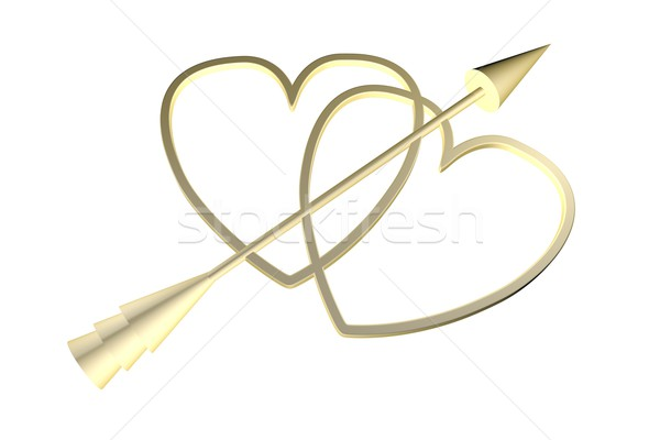 Golden hearts with Cupid arrow Stock photo © Koufax73