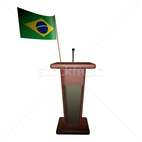 Podyum Brezilya bayrak arkasında konuşmacı 3d render Stok fotoğraf © Koufax73