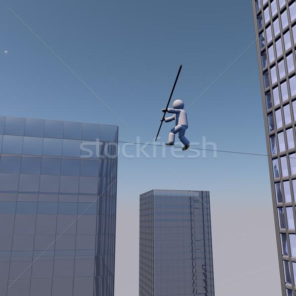 Akrobata sétál kötél épületek 3d render férfi Stock fotó © Koufax73