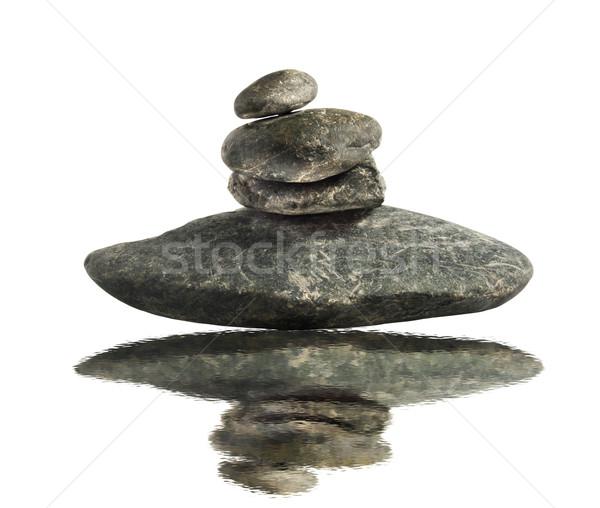 Kamienie cztery równowagi wody biały ogród Zdjęcia stock © Koufax73