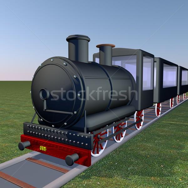 Vapor trem caminhada 3d render praça imagem Foto stock © Koufax73