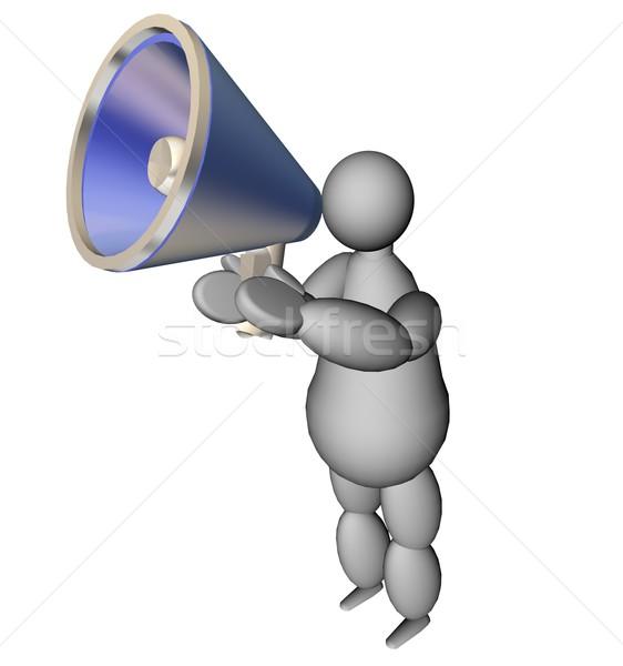 3D fantoccio megafono illustrazione 3d blu news Foto d'archivio © Koufax73