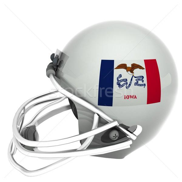 アイオワ州 サッカー フラグ ヘルメット 3dのレンダリング 広場 ストックフォト © Koufax73