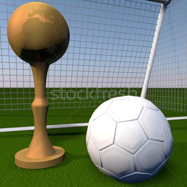 Golden cup over football field Stock photo © Koufax73