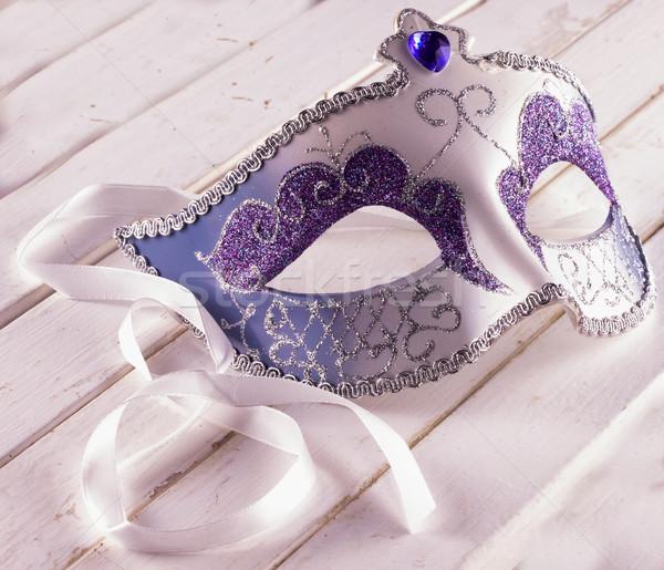 Veneziano máscara carnaval branco mesa de madeira Foto stock © Koufax73
