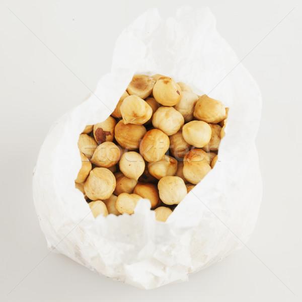 Amendoins papel saco branco praça imagem Foto stock © Koufax73